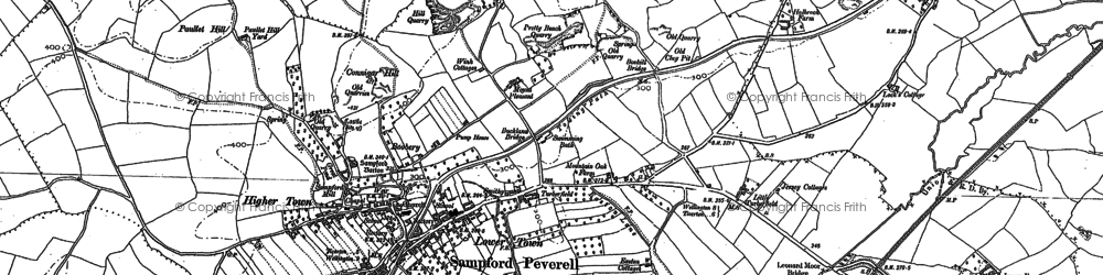 Old map of Sampford Peverell in 1887