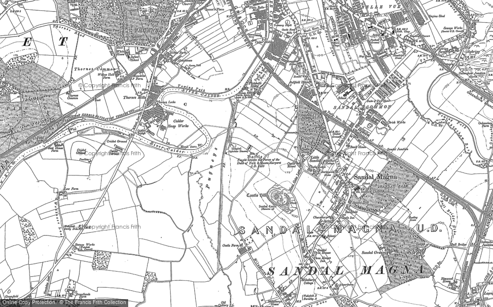 Old Map of Sandal, 1891 in 1891