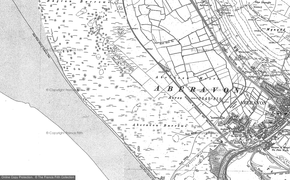 Old Map of Historic Map covering Aberavon Sands in 1897