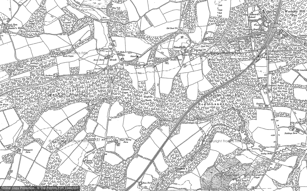 Old Map of Historic Map covering Thursley Lake in 1896
