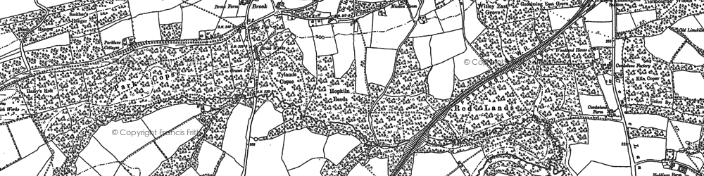 Old map of Thursley Lake in 1896