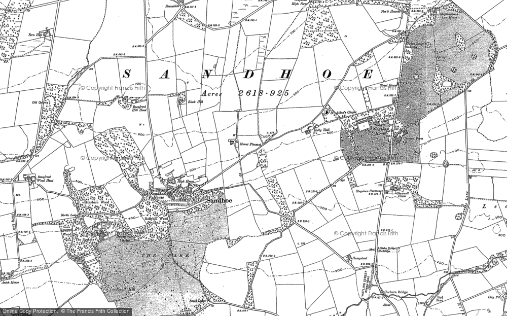 Old Map of Historic Map covering Acomb Fell in 1895