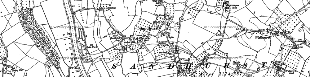 Old map of Sandhurst in 1883