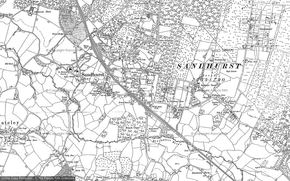 Old Map of Sandhurst, 1909 - 1910 in 1909