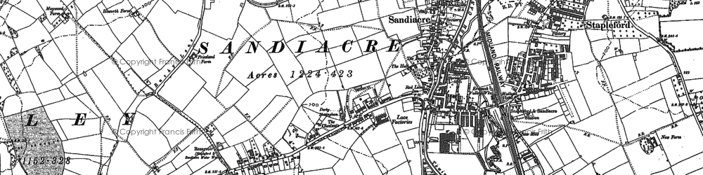 Old map of Sandiacre in 1899