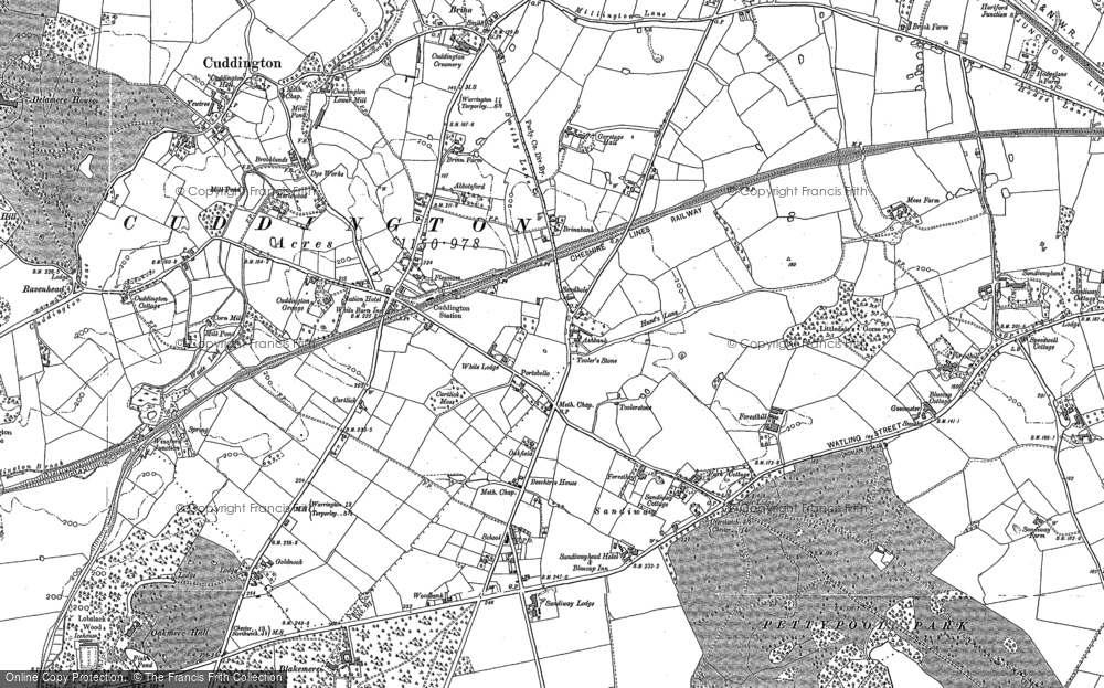 Old Map of Historic Map covering Cuddington in 1897