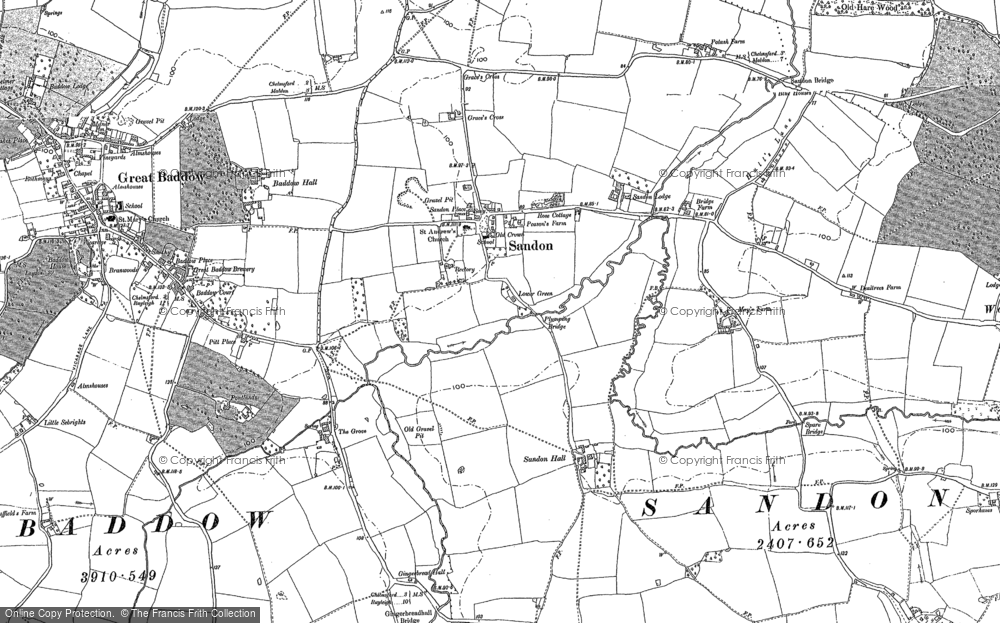 Old Map of Historic Map covering Woodhill in 1895