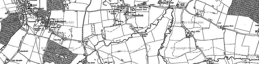 Old map of Woodhill in 1895