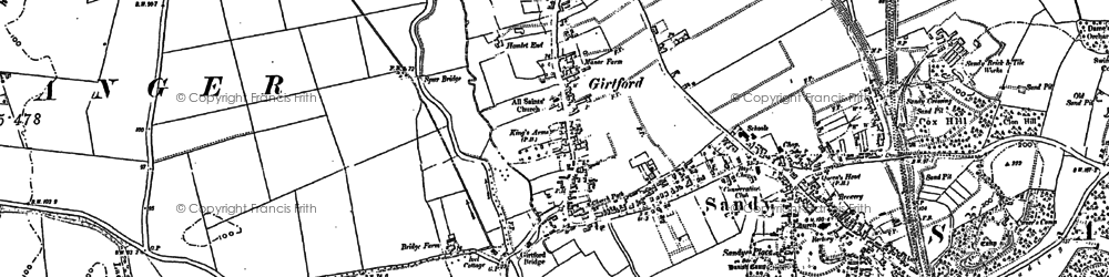 Old map of Sandy in 1882