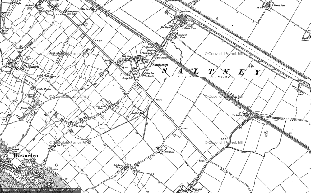 Old Map of Sandycroft, 1898 - 1909 in 1898