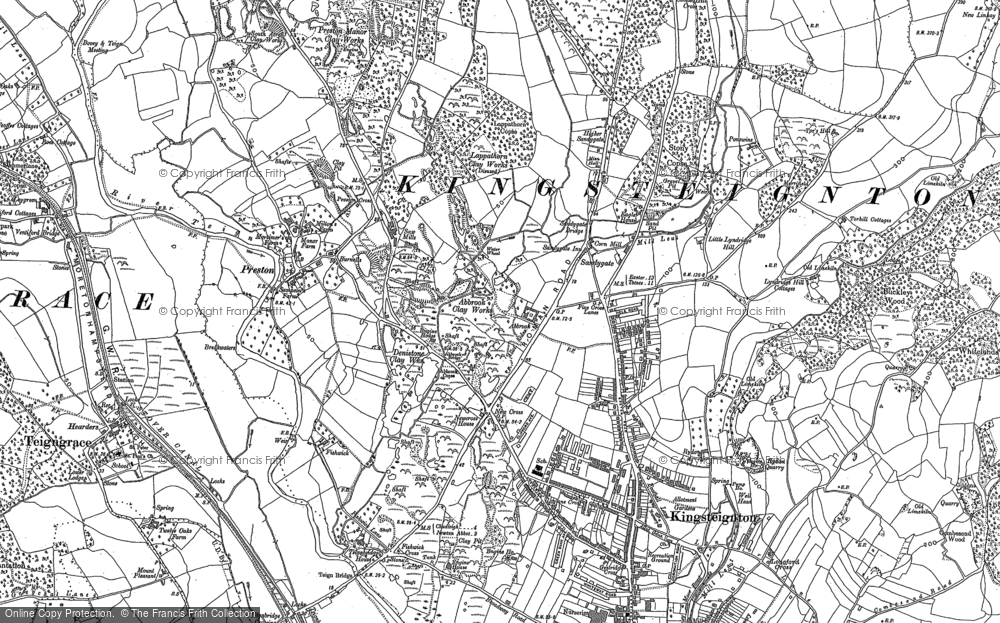Old Map of Historic Map covering Lindridge Hill in 1887
