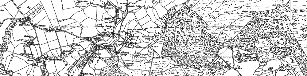 Old map of Santon Bridge in 1898