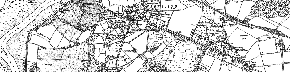 Old map of Sarisbury in 1895