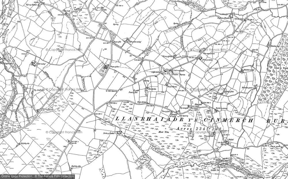 Old Map of Historic Map covering Afon Concwest in 1898