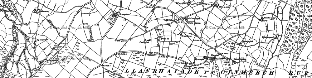 Old map of Afon Concwest in 1898