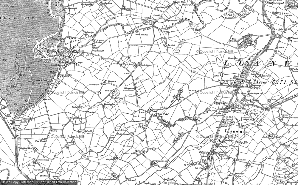 Old Map of Historic Map covering Afon Rhyd in 1899