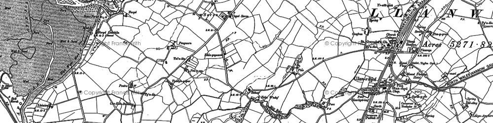 Old map of Afon Rhyd in 1899
