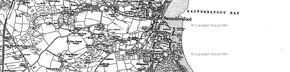 Old map of Saundersfoot in 1887