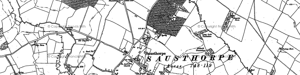 Old map of Aswardby Mill in 1887