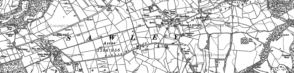 Old map of Wet Car Wood in 1893