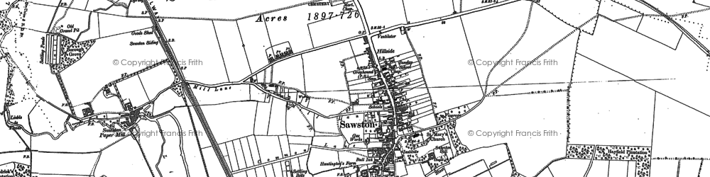 Old map of Sawston in 1885