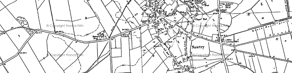 Old map of Sawtry in 1887
