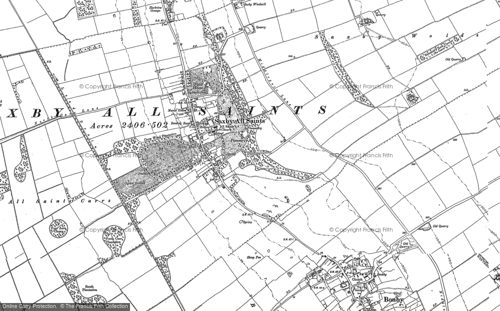 Old Map of Saxby All Saints, 1886 in 1886