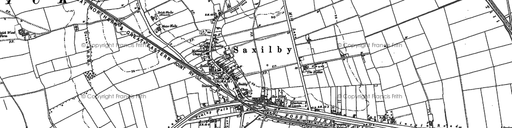 Old map of Saxilby in 1885