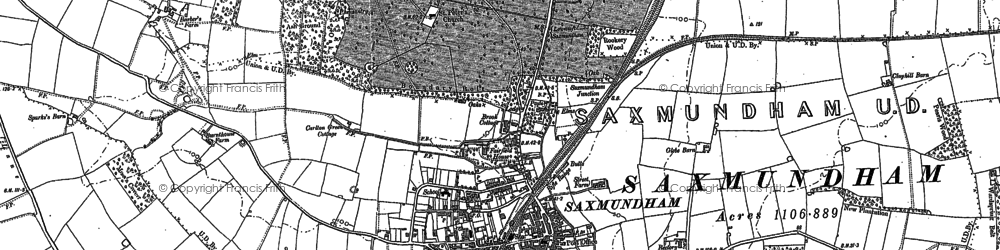 Old map of Saxmundham in 1882