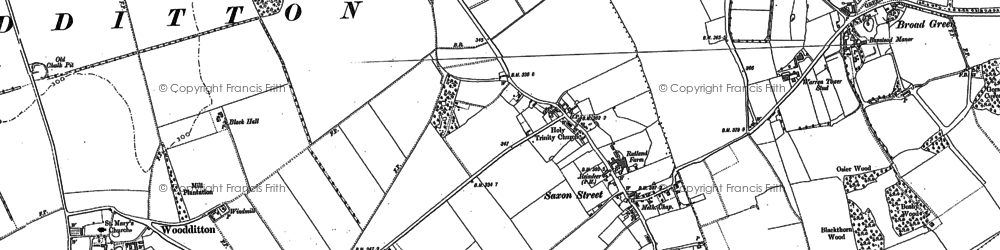 Old map of Broad Green in 1884