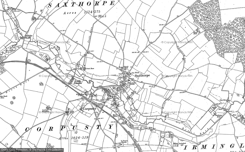 Old map of Saxthorpe