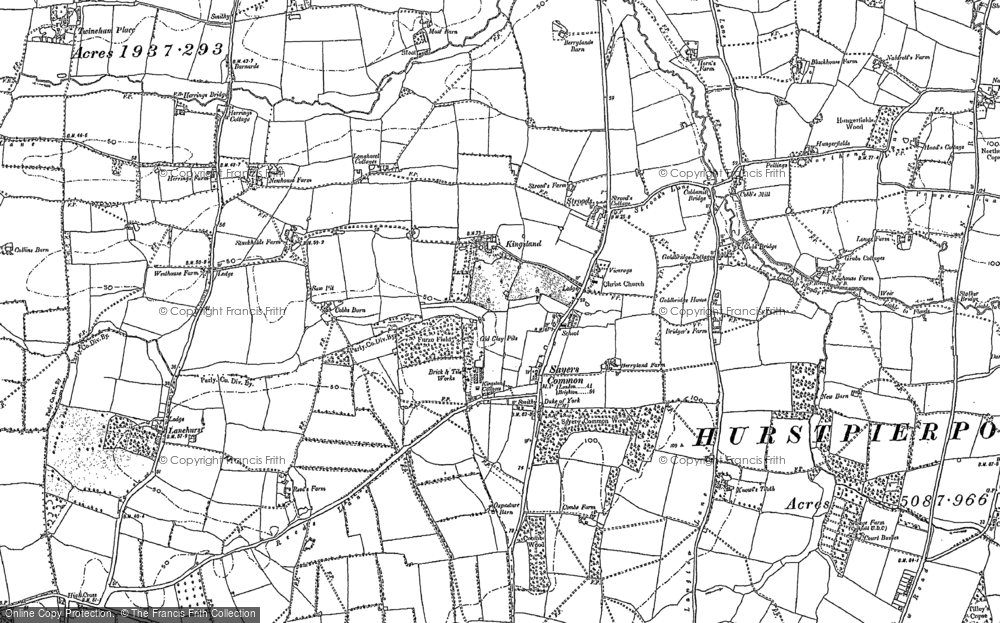Old Map of Historic Map covering Lanehurst in 1896
