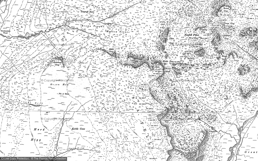 Old Map of Historic Map covering Lingmell Gill in 1897