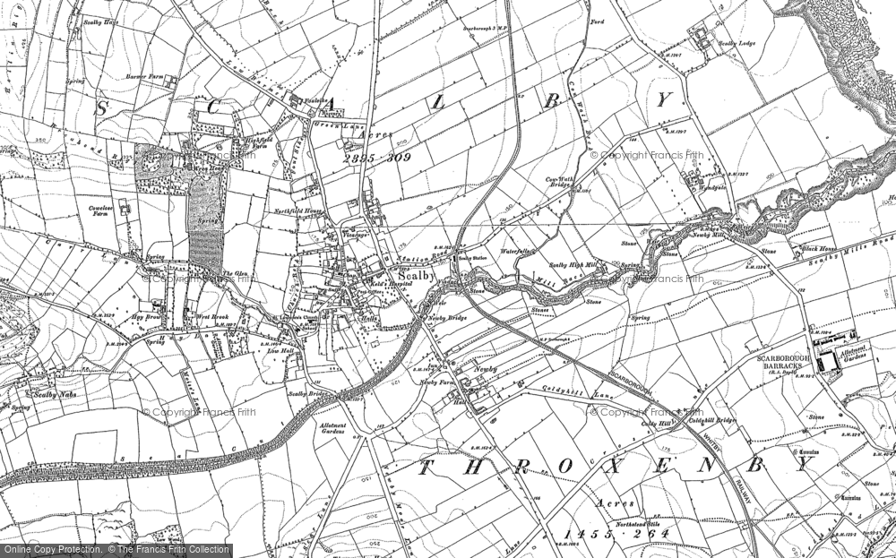 Old Map of Scalby, 1910 in 1910