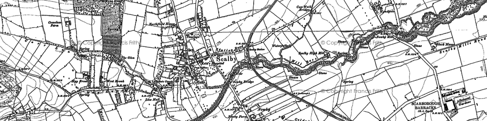 Old map of Scalby in 1910