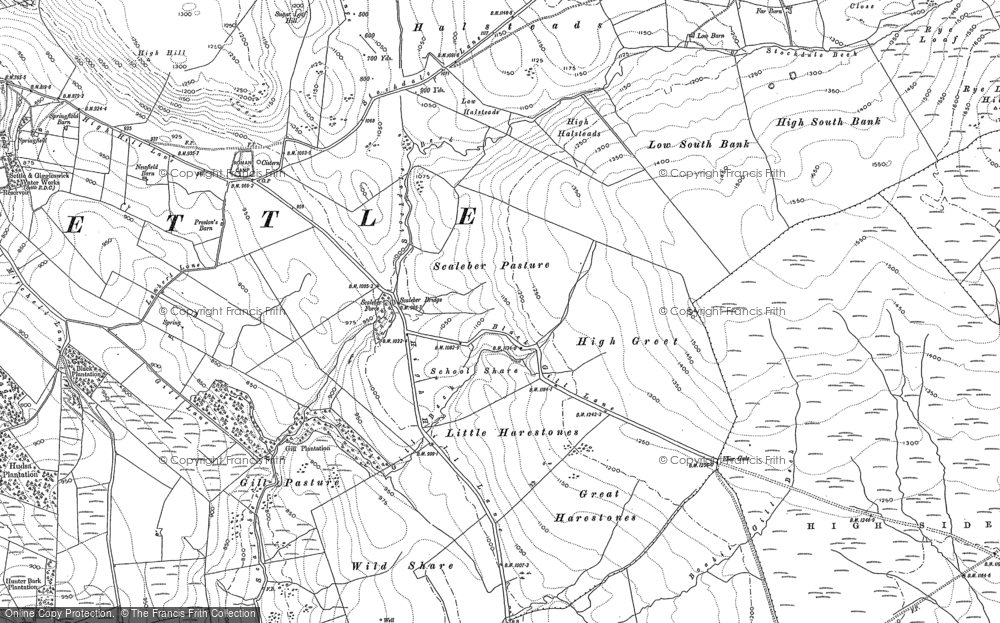 Old Map of Historic Map covering Back Scar in 1907