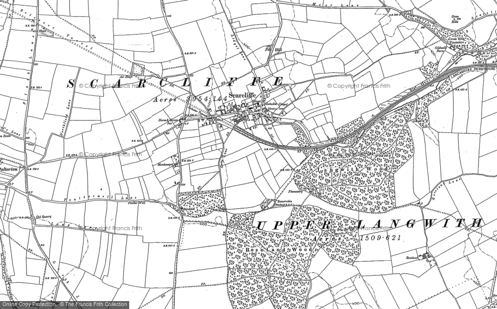Old Map of Historic Map covering Langwith Wood in 1897