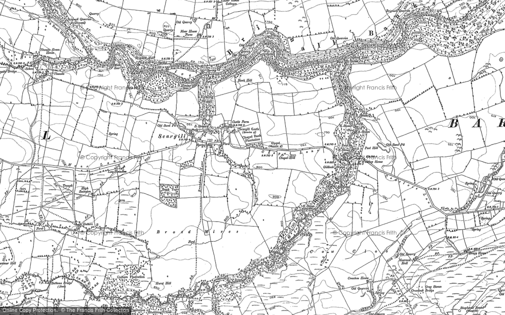 Old Map of Historic Map covering Woodclose Gill in 1891