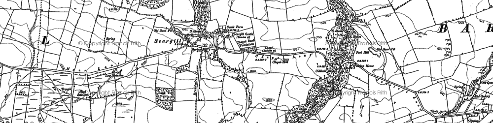 Old map of Thwaite Beck in 1891