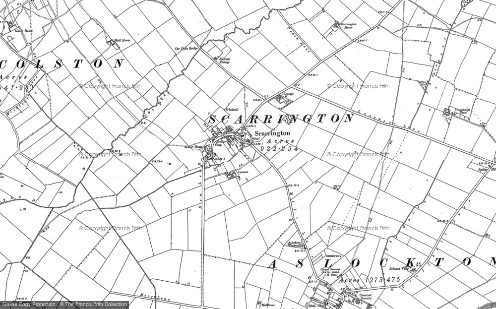 Old Map of Scarrington, 1883 - 1899 in 1883