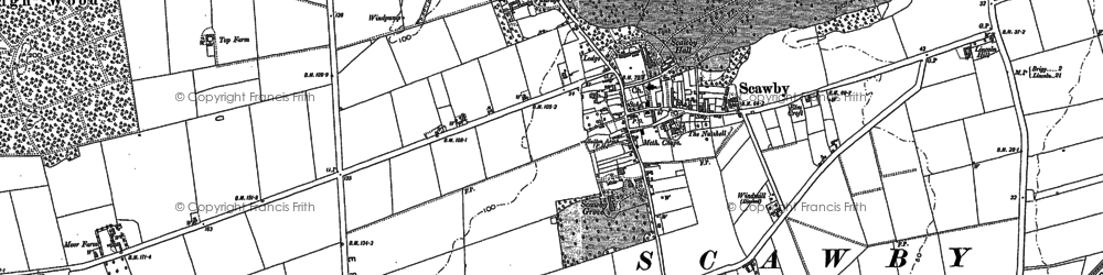 Old map of Scawby in 1885