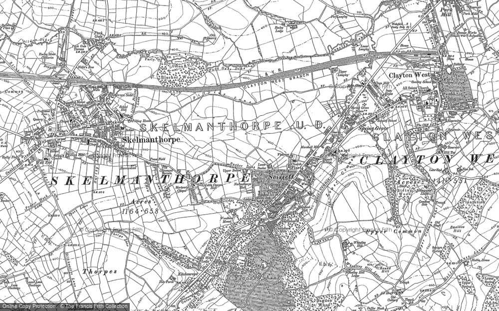 Old Map of Historic Map covering Bagden Hall in 1891