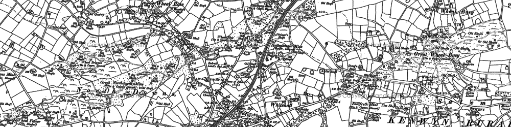 Old map of Scorrier in 1879
