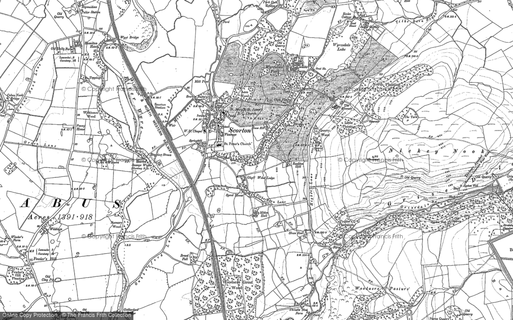 Old Map of Historic Map covering Lea Green in 1910