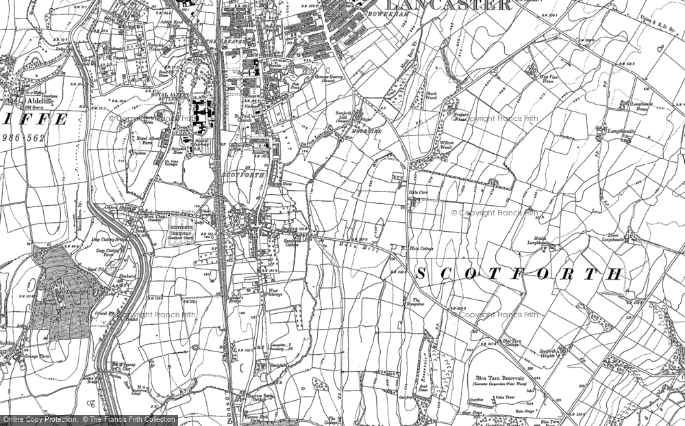 Old Map of Historic Map covering Langthwaite in 1910