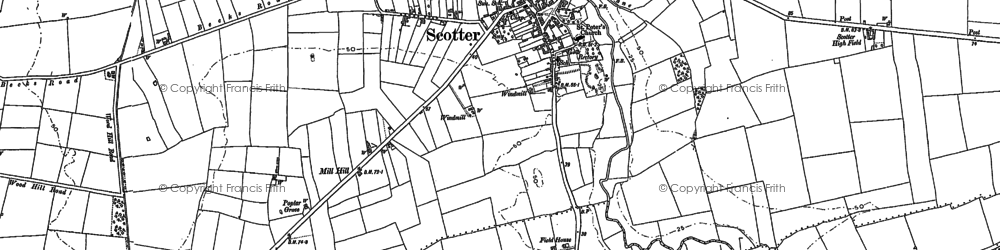 Old map of Scotter in 1885