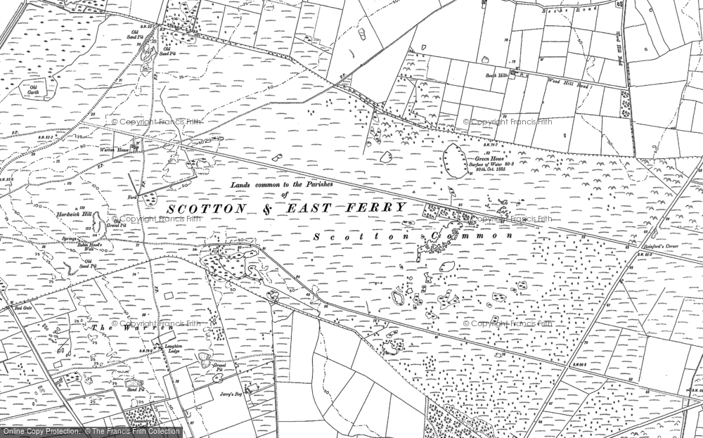 Old Map of Historic Map covering Laughton Wood in 1885