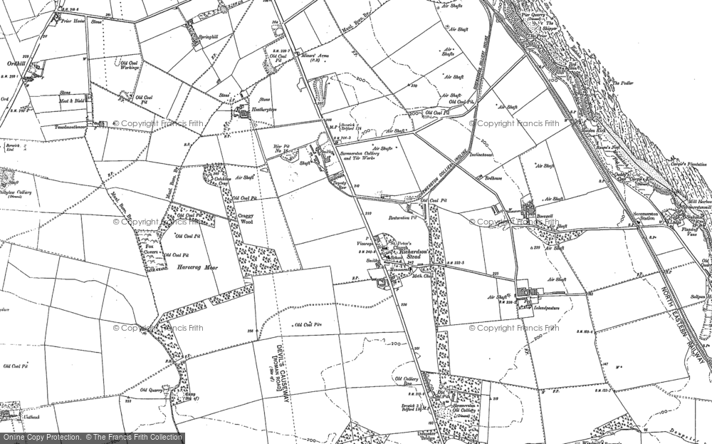 Old Map of Historic Map covering Aller Dean in 1897