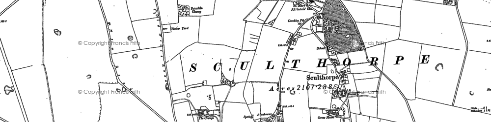 Old map of Sculthorpe in 1885