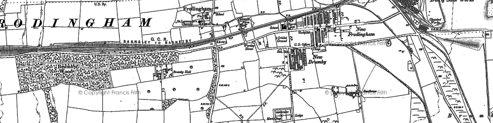 Old map of Scunthorpe in 1885